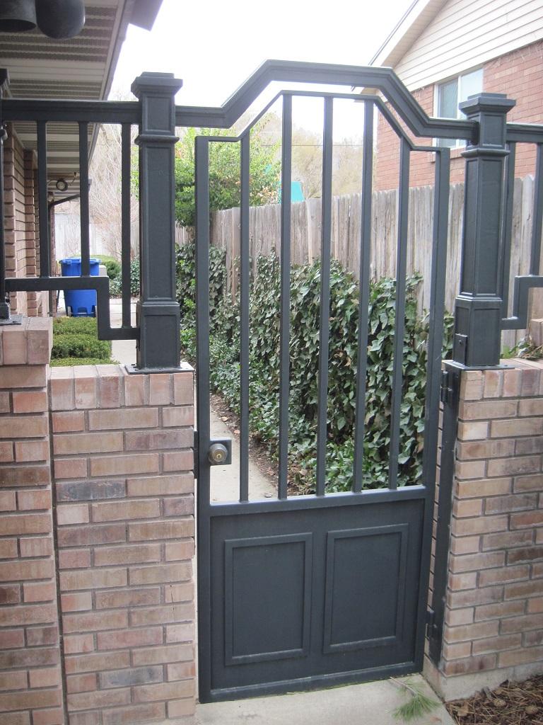 61-0621-Iron-Anvil-Gates-Man-Arch-CONSTABLE-5643-OAKDALE-DR-4538-BRONZE-TOP-CAP-JULIUS-BLUM-SQUARE-CI-POST-399